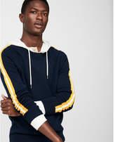 Express stripe sleeve crew neck cotton sweater