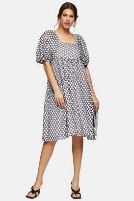 Topshop Womens Black And White Embroidered Chuck On Midi Dress - Monochrome