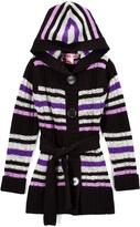 Pink Angel Purple Stripe Tie-Waist Hooded Duster - Infant, Toddler & Girls