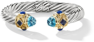 David Yurman silver and 14kt yellow gold Renaissance Cable topaz, iolite and lapis lazuli cuff