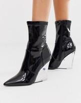 Asos Design DESIGN Expectations high leg wedge boots