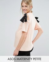 Asos PETITE Top with Cold Shoulder and Woven Ties