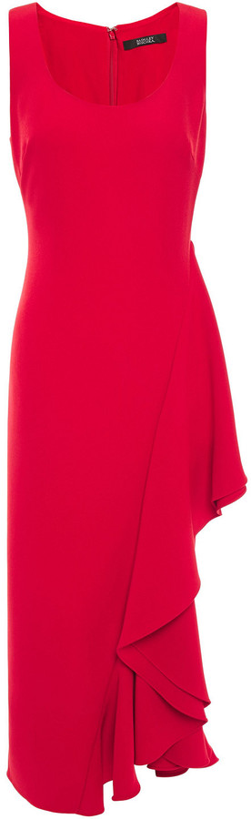 Badgley Mischka Ruffled Stretch-cady Midi Dress