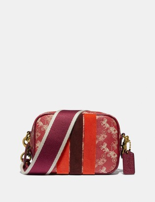 Coach Lunar New Year Camera Bag 16 With Horse And Carriage Print And Varsity Stripe