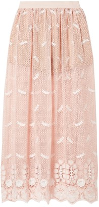 Miguelina Paris Embroidered Cotton Macrame Lace Maxi Skirt