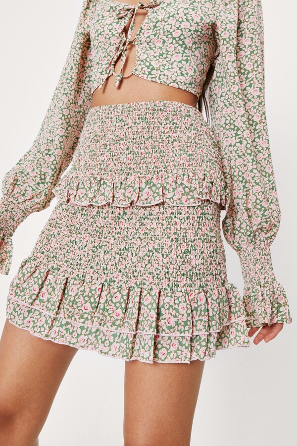 Thumbnail for your product : Nasty Gal Womens Floral Tiered High Waisted Mini Skirt - Green - 6
