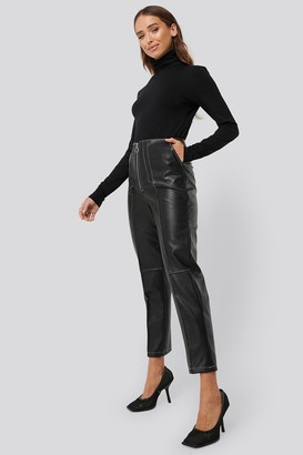 Erica Kvam X NA-KD Faux Leather Front Seam Pants