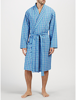 John Lewis Linford Check Cotton Poplin Robe, Blue
