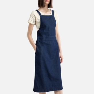 La Redoute Collections Denim Pinafore Dungaree Dress in Mid-Length with Pockets