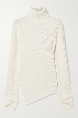 Coperni Rib Mix Motion Asymmetric Ribbed-knit Turtleneck Sweater - Ivory