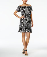 NY Collection Petite Convertible Off-The-Shoulder Printed Fit & Flare Dress