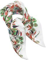 Roberto Cavalli Signature Logo and Floral Print Silk Square Scarf