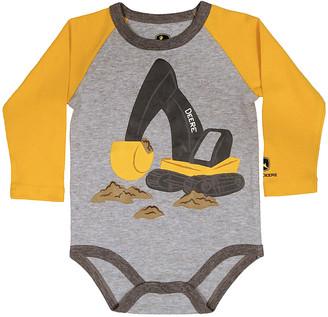 John Deere Boys' Tee Shirts HEATHER - Heather Gray Excavator Bodysuit - Infant
