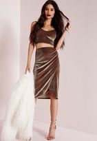 Missguided Velvet Wrap Midi Skirt Nude