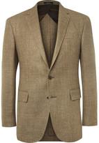 Polo Ralph Lauren Brown Slim-Fit Checked Silk, Linen and Wool-Blend Blazer