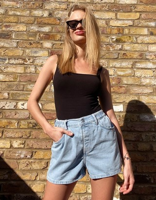 Topshop pull on denim shorts in bleach wash
