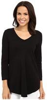 Mod-o-doc Mod O Doc Slub Jersey 3/4 Sleeve V-Neck Tunic (Black) Women's Blouse