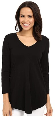 Mod-o-doc Slub Jersey 3/4 Sleeve V-Neck Tunic (Black) Women's Blouse