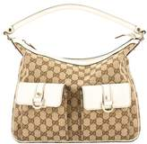 Gucci Ivory Leather GG Monogram Canvas Pocket Hobo Bag