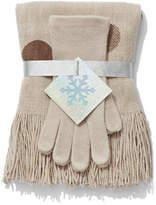 New York & Co. 2-Piece Dot-Print Scarf & Gloves Set