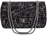 One Kings Lane Vintage Chanel Rhinestone Logo Double-Flap Bag - Vintage Lux - black/silver/ruthenium