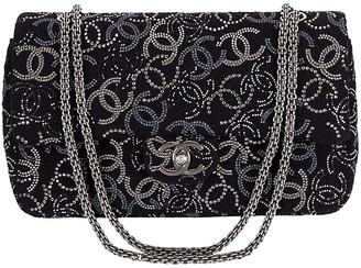 One Kings Lane Vintage Chanel Rhinestone Logo Double-Flap Bag - Vintage Lux