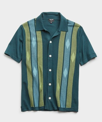 Todd Snyder Italian Striped Argyle Button Down Polo Sweater in Storm Green