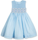 Luli & Me Sleeveless Floral-Trim Smocked Dress, Blue, Size 7-10