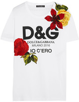 Dolce & Gabbana Embellished Printed Cotton-jersey T-shirt - White