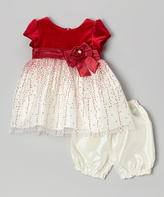 Jayne Copeland Red Velvet Glitter Tulle Dress & Bloomers - Infant