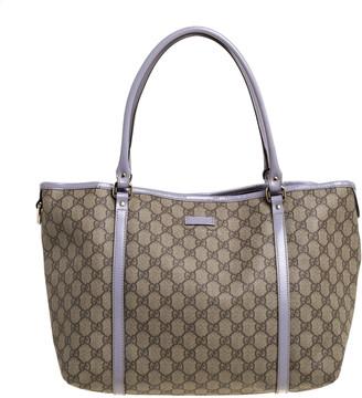 Gucci Beige/Lavender GG Supreme Canvas and Patent Leather Medium Joy Tote