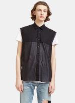 Saint Laurent Men's Raw-edged Sheer Sleeveless Shirt In Black
