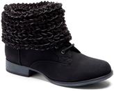 Wild Diva Black Knit-Cuff Oxford Boot
