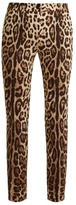 Dolce & Gabbana Skinny-leg leopard-print stretch-silk trousers