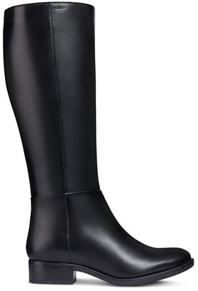 Geox D Felicity Leather Knee-High Boots with Heel