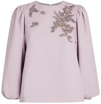 Andrew Gn Embellished Balloon-Sleeve Top