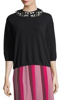 Valentino Floral-Embroidered Wool-Cashmere Collared Sweater
