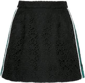 GUILD PRIME striped guipure star mini skirt