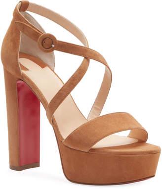 Christian Louboutin Loubi Suede Red Sole Platform Sandals