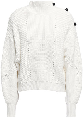 Joie Pointelle-trimmed Cotton And Cashmere-blend Sweater