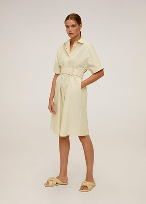 MANGO Belt shirt dress pastel yellow - 2 - Women