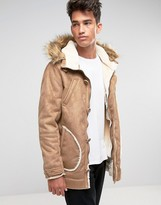 Brave Soul Faux Shearling Parka With Faux Fur Hood Jacket