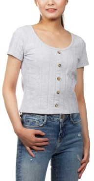 PINK ROSE Juniors' Ribbed-Knit Button-Detail Cropped Top