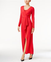 Thalia Sodi Draped Lace-Trim Gown, Only at Macy's