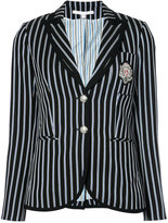 Veronica Beard patch striped blazer - women - Cotton - 2