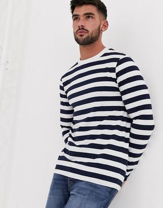 ASOS DESIGN long sleeve skinny striped t-shirt in organic cotton