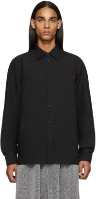 Random Identities Black Raglan Sleeve Button Up Shirt