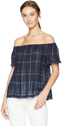 Lucky Brand Women's Off Shoulder Plaid TOP