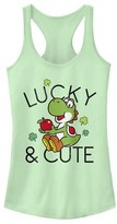 Fifth Sun Women's Tank Tops MINT - Super Mario Mint Yoshi 'Lucky & Cute' Racerback Tank - Women & Juniors