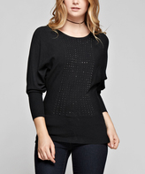 Black Rhinestone Scoop Neck Pullover Sweater